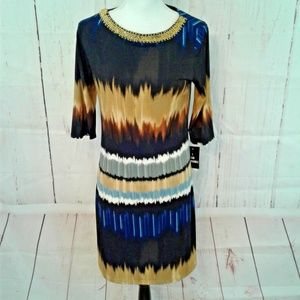 Sharon Darren Blue Black Ombre Beaded Shift Dress